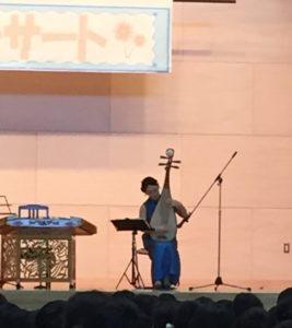 中国琵琶演奏中の島小学校